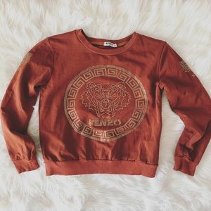 Kenzo Paris M Burnt Orange sweatshirt Rhinestones